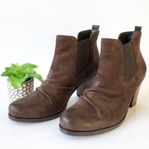 Paul Green Brown Leather Scrunch Ankle Boots 6.5